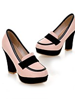 Women's Shoes Leatherette Spring Fall Comfort Heels Chunky Heel Round Toe Split Joint For Casual Dress Office & Career White Blushing Pink