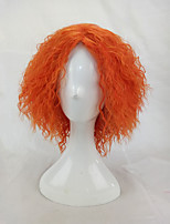 Afro Kinky Curly Wig Synthetic Hair Woman Medium Length Orange Cosplay Wigs High Temperature Fiber