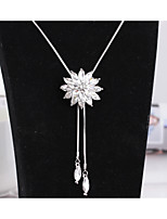 Women's Pendant Necklaces Flower Crystal Alloy Cute Style Fashion Jewelry For Wedding Party Halloween Birthday Graduation Daily