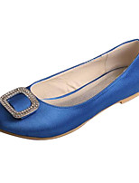Femme Chaussures de mariage Confort Satin Elastique Printemps Automne Mariage Soirée & Evénement Cristal Talon Plat Blanc Argent Bleu Plat