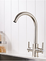 Contemporary Modern/Contemporary Vessel Widespread with  Ceramic Valve Nickel Brushed , Kitchen faucet
