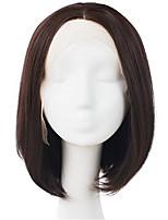 Mujer Pelucas de Cabello Natural Cabello humano Encaje Completo Integral sin Pegamento 130% Densidad Liso Peluca Negro Corto Medio Largo