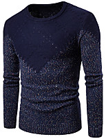 Men's Going out Casual/Daily Simple Regular Pullover,Color Block Round Neck Long Sleeves Cotton Fall Medium Micro-elastic