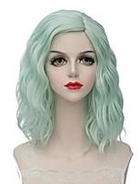 Парики из искусственных волос Без шапочки-основы Короткий Мятно-зелёный Боб с прямым пробором Парики для косплей Карнавальные парики