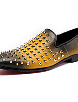 Men's Oxfords Comfort Novelty Spring Fall Nappa Leather Wedding Casual Office & Career Party & Evening Rivet Flat Heel Ruby Yellow Flat