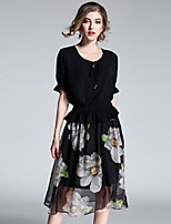 Women's Going out Cute Swing Dress,Print Round Neck Midi Half Sleeves Polyester Summer Mid Rise Micro-elastic Medium