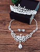 Women's Necklace Front Back Earrings Rhinestone Elegant Rhinestone Alloy Princess For Wedding Wedding Gifts
