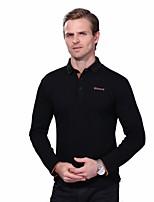 Men's Plus Size Fashion Slim Letter Print Long Sleeve Polos Turn-down Collar Cotton Spandex Medium