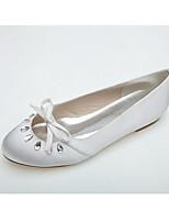 Mujer Zapatos de boda Bailarina Primavera Verano Satén Boda Vestido Fiesta y Noche Pedrería Pajarita Tacón Plano Blanco Rosa Plano