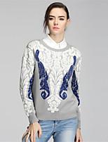 Для женщин На каждый день Простое Обычный Пуловер С принтом Контрастных цветов,Круглый вырез Длинный рукав Шерсть Полиэстер Осень Зима