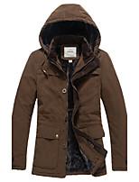 Пальто Уличный стиль Длинная На подкладке Для мужчин,Однотонный С принтом На каждый день Полиэстер Полипропилен,Длинный рукав