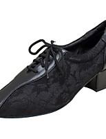 Для женщин Латина Кружева Искусственная кожа Сандалии Концертная обувь Кружева Кубинский каблук Черный 2,5 - 4,5 см Персонализируемая