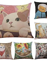 Set of 6 Color Cartoon Cat  Linen Cushion Cover Home Office Sofa Square Pillow Case Decorative Cushion Covers Pillowcases (18*18Inch)