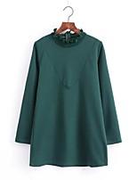 Для женщин На выход На каждый день Офис Лето Рубашка Вырез под горло,Простое Уличный стиль Однотонный Длинный рукав,Лён Полиэстер Другое,