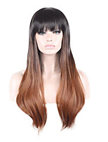 Natural Wigs aMEI Ombre Black/Brown Long Wave Wigs for Women Costume Wigs Capless Wigs