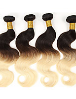 4Pcs/lot 400g 18inch Unprocessed Brazilian Virgin Hair Deep Wave Human Hair Two Tone 1b/33 Curl Ombre Hair Weaves