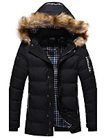 Men's Long Padded Coat,Simple Going out Casual/Daily Solid-Cotton Polyester Long Sleeves
