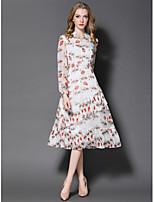 Damen Hülle Kleid-Ausgehen Niedlich Druck V-Ausschnitt Midi Langarm Polyester Sommer Mittlere Hüfthöhe Mikro-elastisch Mittel