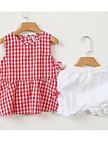 Ensembles Fille Damier Coton Eté Ensemble de Vêtements