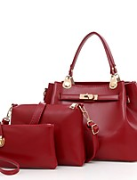 Women Bags All Seasons PU Bag Set with for Casual Black Red Beige Dark Blue