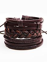 Men's Wrap Bracelet Leather Bracelet Basic Natural Geometric Fashion Vintage Punk Cross Personalized Hip-Hop Handmade Luxury Simple Style