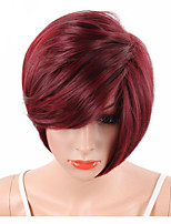 Wine Red Short Pixie Cut Synthetic Wigs For Black Women With Side Bangs Natural Straight Heat Resistant Party Full Wig