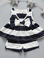 Girls' Stripe Sets,Cotton Summer Sleeveless Clothing Set