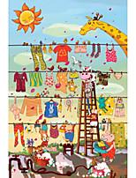 Jigsaw Puzzles Jigsaw Puzzle Building Blocks DIY Toys Round Cat Sun Cartoon Wooden