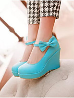 Women's Shoes PU Fall Comfort Heels For Casual Beige Blue Light Pink
