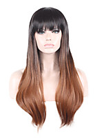 Women Synthetic Wig Capless Medium Straight Black/Dark Auburn Ombre Hair Natural Wig Costume Wigs