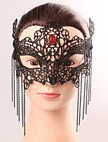 La máscara negra del cordón de la máscara negra del partido de lujo de la gasa del cordón de la borla femenina de la máscara del cordón de