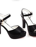 Для женщин Обувь Полиуретан Лето Туфли лодочки Обувь на каблуках На толстом каблуке Назначение Повседневные Белый Черный Розовый