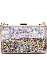 Women Bags All Seasons PC Evening Bag with Glitter Chain for Wedding Event/Party Casual Formal Office & Career Blue Silver Blushing Pink