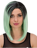 Sexy Ombre Mint Green Wig Synthetic Middle Length Straight Bobo Wig For Balck Women Wig