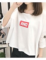 Women's Casual/Daily Simple T-shirt,Solid Letter Round Neck 3/4 Length Sleeve Cotton