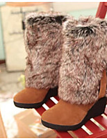 Women's Shoes Nubuck leather PU Winter Comfort Boots For Casual Black Brown Almond