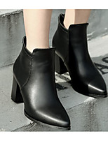 Для женщин Ботинки Туфли лодочки Модная обувь Натуральная кожа Кашемир Полиуретан Зима Повседневные Черный 9,5 - 12 см