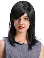 Prevailing  Oblique Fringe  Black Color Long Hair Human Hair Wigs
