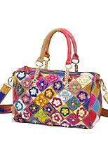 Women Bags All Seasons Cowhide Tote with Rhinestone Flower Plaid Split Joint for Event/Party Casual Formal Outdoor Office & Career Rainbow