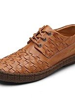 Men's Oxfords Comfort Nappa Leather Spring Fall Winter Casual Office & Career Party & Evening Light Brown Black Flat