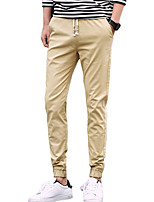 Men's Mid Rise Micro-elastic Jogger Chinos PantsSimple Slim Solid UK-583