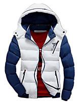 Пальто Простое Обычная На подкладке Для мужчин,Контрастных цветов На каждый день Хлопок Полипропилен,Длинный рукав