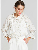 Women's Casual/Daily Simple Blouse,Floral Round Neck Long Sleeves Spandex