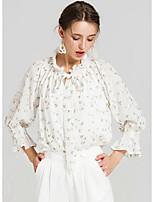 Damen Blumen Einfach Lässig/Alltäglich Bluse,Rundhalsausschnitt Langarm Elasthan