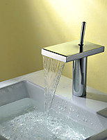 Modern Style Centerset Waterfall with Single Handle One Hole for  Chrome  Deck Mounted Bathroom Sink Faucet