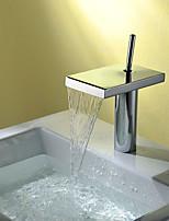Style moderne Set de centre Jet pluie with  Soupape céramique Mitigeur un trou for  Chrome , Robinet lavabo