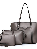 Women Bags All Seasons PU Bag Set with Zipper for Casual Outdoor Office & Career White Black Silver Gray