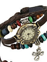 Жен. Модные часы Часы-браслет Кварцевый PU Группа Коричневый