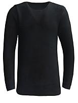 Standard Pullover Da uomo-Casual Tinta unita Rotonda Manica lunga Cotone Primavera Autunno Medio spessore Media elasticità