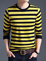 Men's Plus Size Going out Casual/Daily Simple Short Pullover,Solid Striped Round Neck Long Sleeves Wool Cotton Others Spring Fall Thin